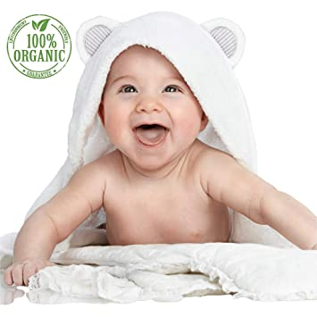 Baby Organic Bamboo Hooded Bath Towel Soft Breathable Absorbent Newborns Infants