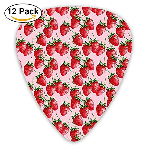Newfood Ss Delicious Big Strawberries On Pink Background Guitar Picks 12/Pack Set