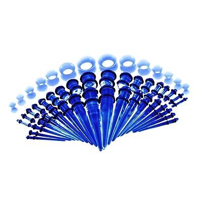 IPOTCH 50x Túnel de Oídos Tapones Perforador Piercing Dilatador de Acrílico para Orejas 14G - 00G - Azul: Amazon.es: Joyería