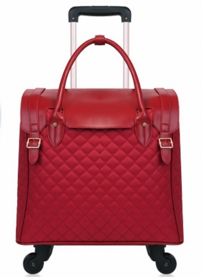 18 inch Fashion Wheeled Rolling Tote Garment Bag suitcase Luggage Spinner Mobile Office for women girls 3 colors (Red)