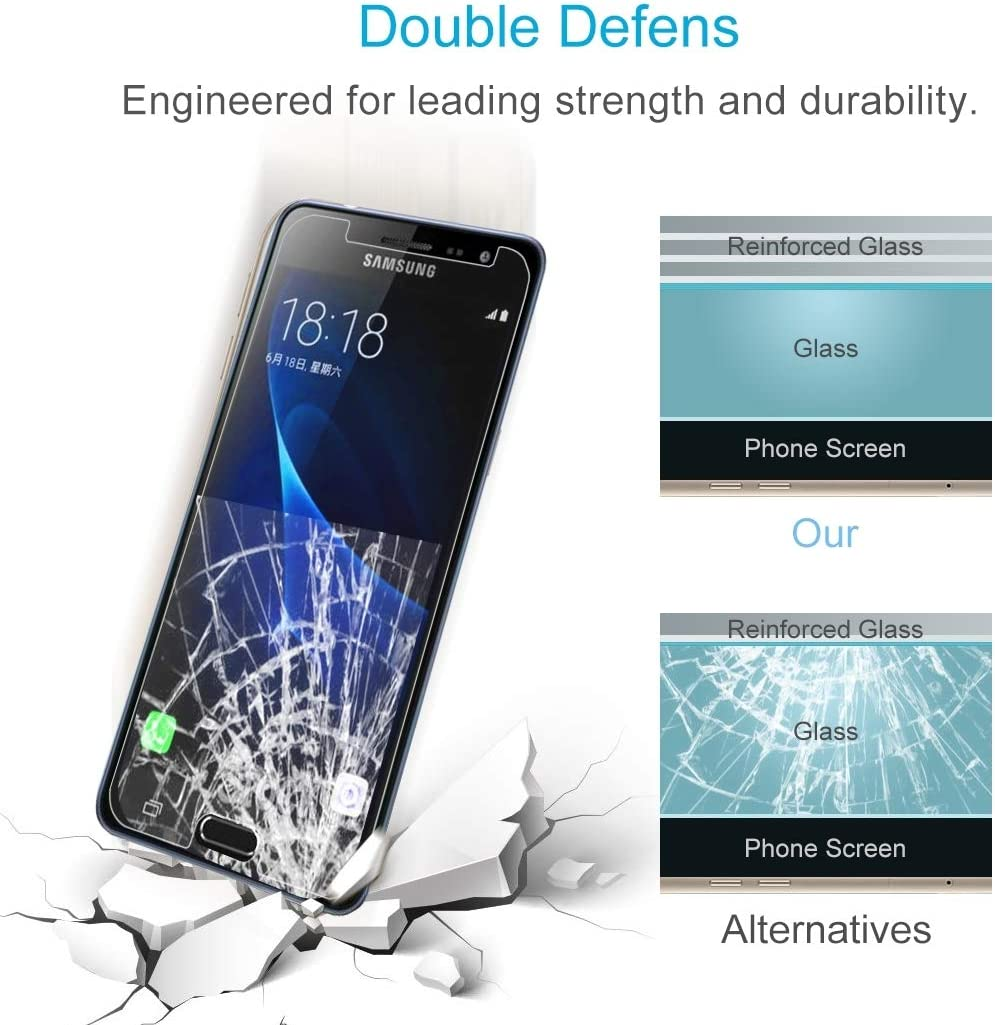 ZHANGYUNSHENG 100 PCS for Galaxy J3 2017 EU Version 0.26mm 9H Surface Hardness 2.5D Explosion-Proof Non-Full Screen Tempered Glass Screen Film zys