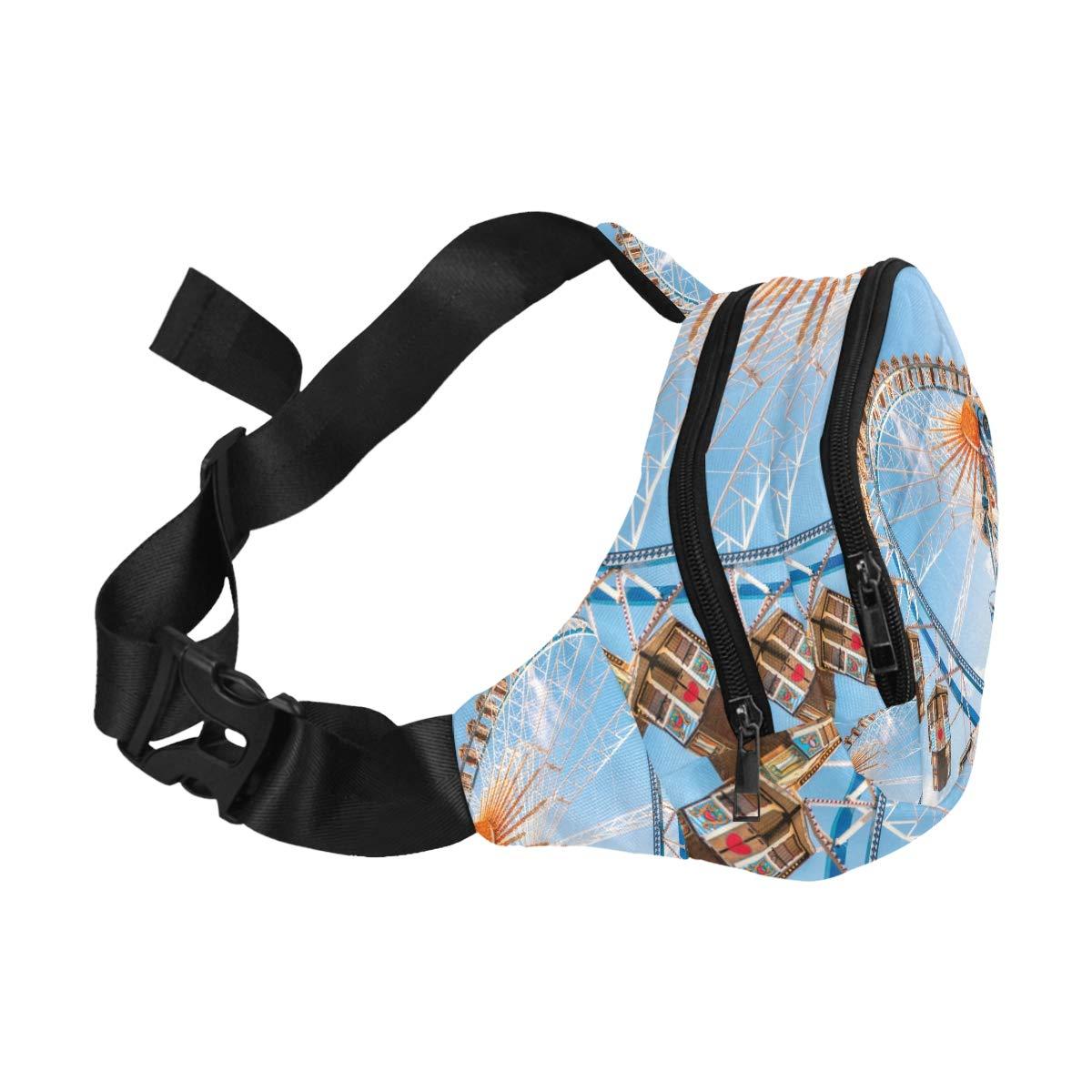 A Colourful Ferris Wheel Daytime Fenny Packs Waist Bags Adjustable Belt Waterproof Nylon Travel Running Sport Vacation Party For Men Women Boys Girls Kids