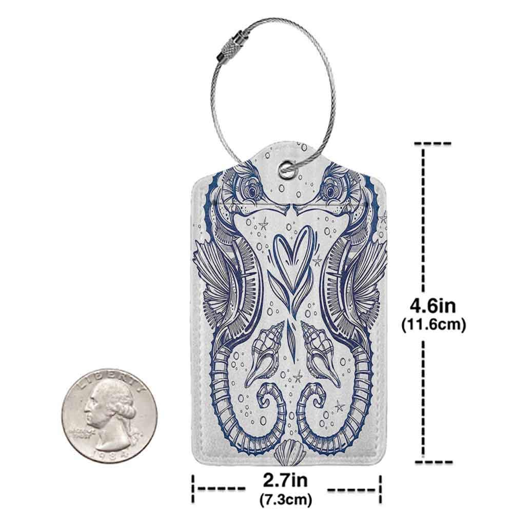 Modern luggage tag Animal Decor Romantic Ink Seahorse Lovers Kissing with Heart Nautical Elements Exotic Fauna Suitable for children and adults Royal Blue W2.7 x L4.6