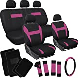 OxGord 21pc Black & Pink Flat Cloth Seat Cover and Carpet Floor Mat Set for Car Pick-Up Truck SUV Van Sedan Hatchback , Airbag Compatible, Split Bench, Steering Wheel Cover Included