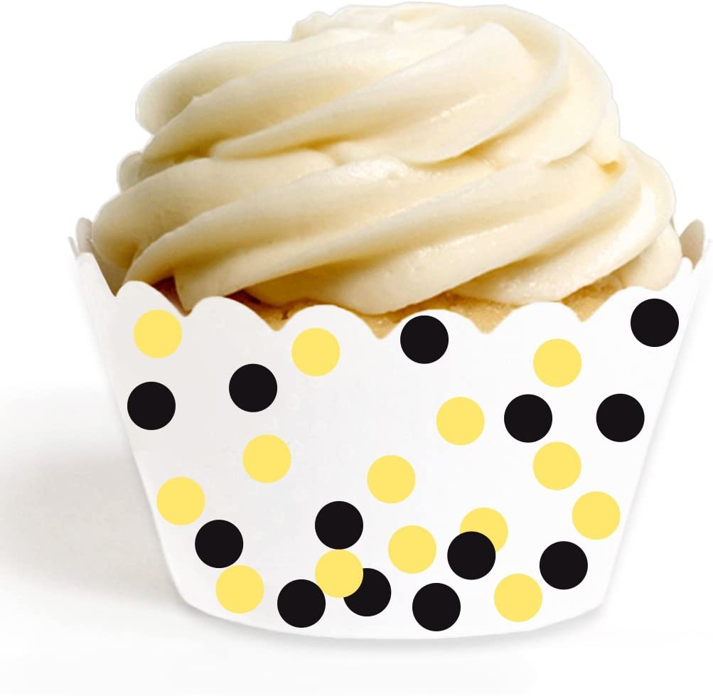Andaz Press Birthday Party Cupcake Wrappers Decorations, Yellow, Black, White, 24-Pack, Bulk Decor Supplies, Bumblebee Bee Baby Shower Theme Colored Supplies