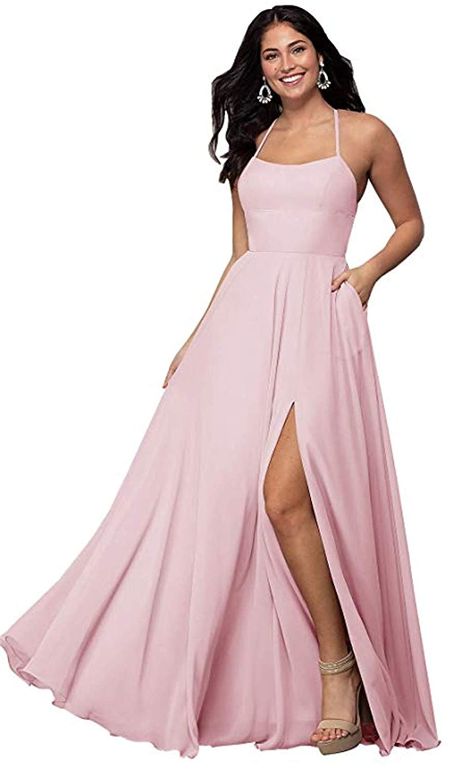 bluesh Pink Halter A Line Long Bridesmaid Dresses Split Prom Evening Gowns with Pocket