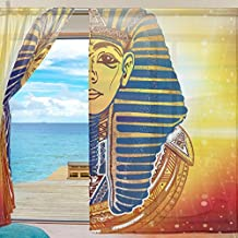 ALAZA Voile Sheer Window Curtain Ancient Egyptian Golden Mask Pharaoh Door Way Tulle Curtain Drapes Panels for Living Room Bedroom Kitchen 55x78 inch, Set of 2