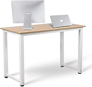 TIRI SMART Computer Desk for Home Office Modern Simple Style Computer Desk Laptop Study Table Office Desk Workstation,47 Inch,Walnut+ White Leg