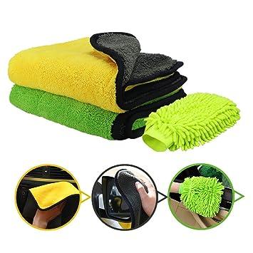 Oladwolf Paños de Limpieza de Microfibra, Paquete de 2 paños de Limpieza para Autos +
