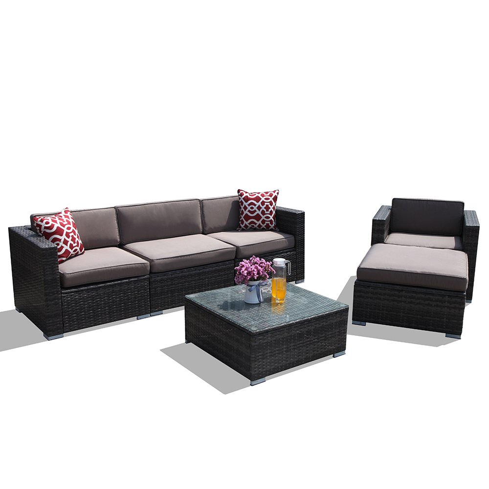 PATIOROMA 6pc Patio Conversation Set, Rattan Sectional Furniture Sofa Set with Light Brown Seat and Back Cushions, Red Throw Pillows, Aluminum Frame, Dark Gray PE Wicker (6 Pieces-2) by PATIOROMA