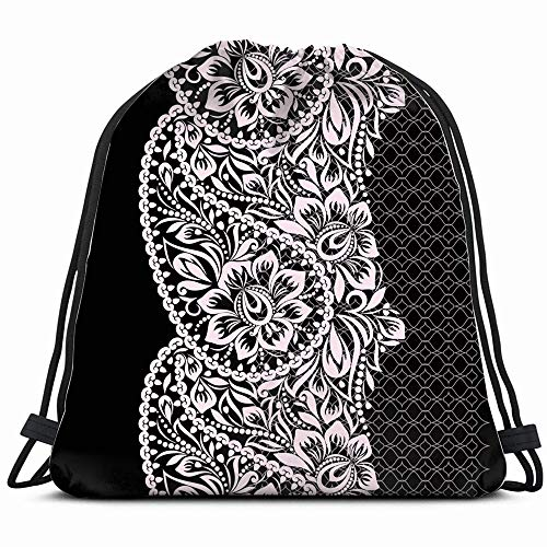 (Black White Lace Paisley Beauty Fashion Vintage Drawstring Backpack Gym Sack Lightweight Bag Water Resistant Gym Backpack For Women&Men For Sports,Travelling,Hiking,Camping,Shopping Yoga)