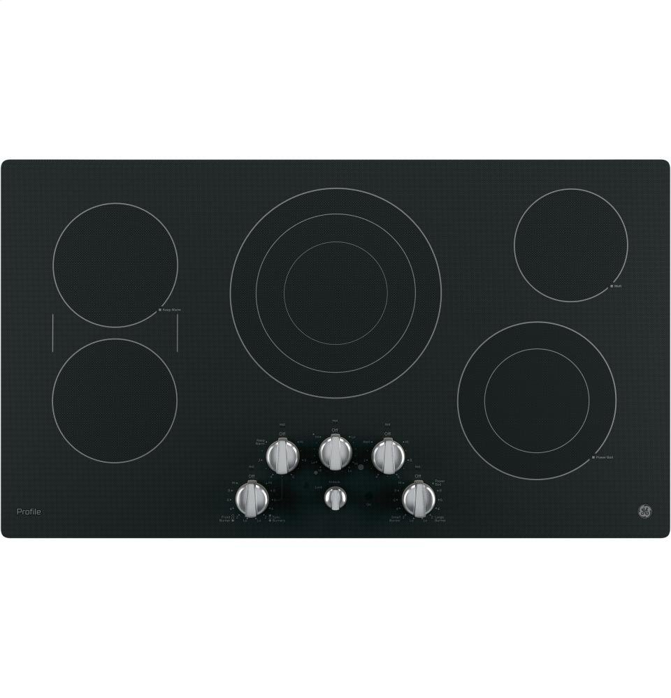 GE Profile PP7036EJES 36' Electric Cooktop with 5 Ribbon Burners Front Center Control Knobs Hot Surface Indicator Keep-Warm Setting and Melt GENERAL ELECTRIC