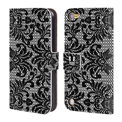 Head Case Designs Damascato Pizzo Nero Cover a portafoglio in pelle per iPod Touch 5th Gen / 6th Gen