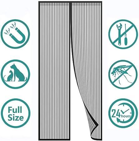 Flei Moustiquaire Porte Magn/étique for Le Salon//Porte Patio 27x70inch Adsorption magn/étique Pliable Acc/ès Facile Blanc 70x180cm Rideau/magn/étique/pour/Portes