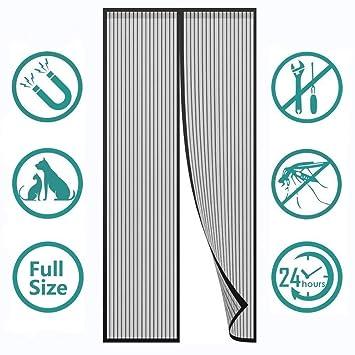 for T/üren//Patio Insektenschutz Magnet Fliegenvorhang Luft kann frei str/ömen magnetische Adsorption 78x88inch Flei Magnet Fliegengitter T/ür Schwarz 200x225cm Auto Schlie/ßen