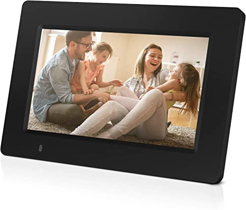 Digital Picture Frame, iDeaPLAY 7 inch WiFi Photo Frame, 1024×600 HD Display, 8GB Internal Storage, iPhone Android App, Support Photo, Music, Calendar with Built-in Speakers
