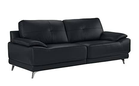 DIVANO ROMA FURNITURE - Modern Living Room Leather Sofa (Dark Blue)