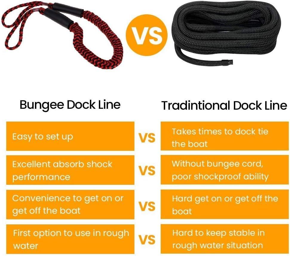 Boat Bungee Mooring Double Braid Dock Lines 4 Pack