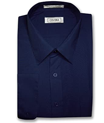 Men&39s Solid NAVY BLUE Color Dress Shirt w/ Convertible Cuffs at ...