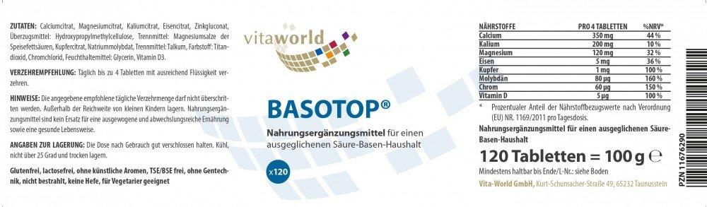 Basotop Polvo Mineral Complejo Alcalinizante 120 Comprimidos Vita World Farmacia Alemania - Minerales: Amazon.es: Salud y cuidado personal