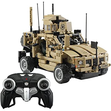 lantusi 1:12 Educational Toys Armored Vehicle 2.4G Remote Control Car DIY Assembled Building Blocks Blocks