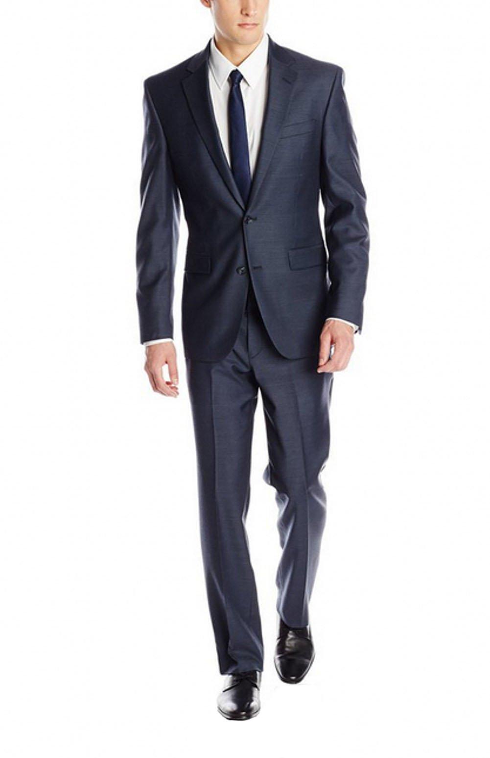 Love Dress Men's Solid 2 Button Notch Lapel Suit Jacket and Pant Navy XXXXXXL