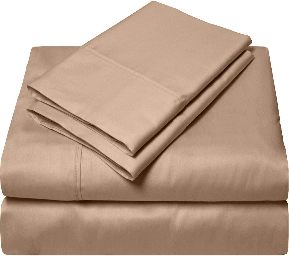 SGI bedding Short Queen Sheets Luxury Soft 100% Egyptian Cotton - Sheet Set for Short Queen Mattress Taupe Solid 600 Thread Count Deep Pocket