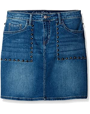 Jeans Women's Studded Denim Mini a-Line Skirt