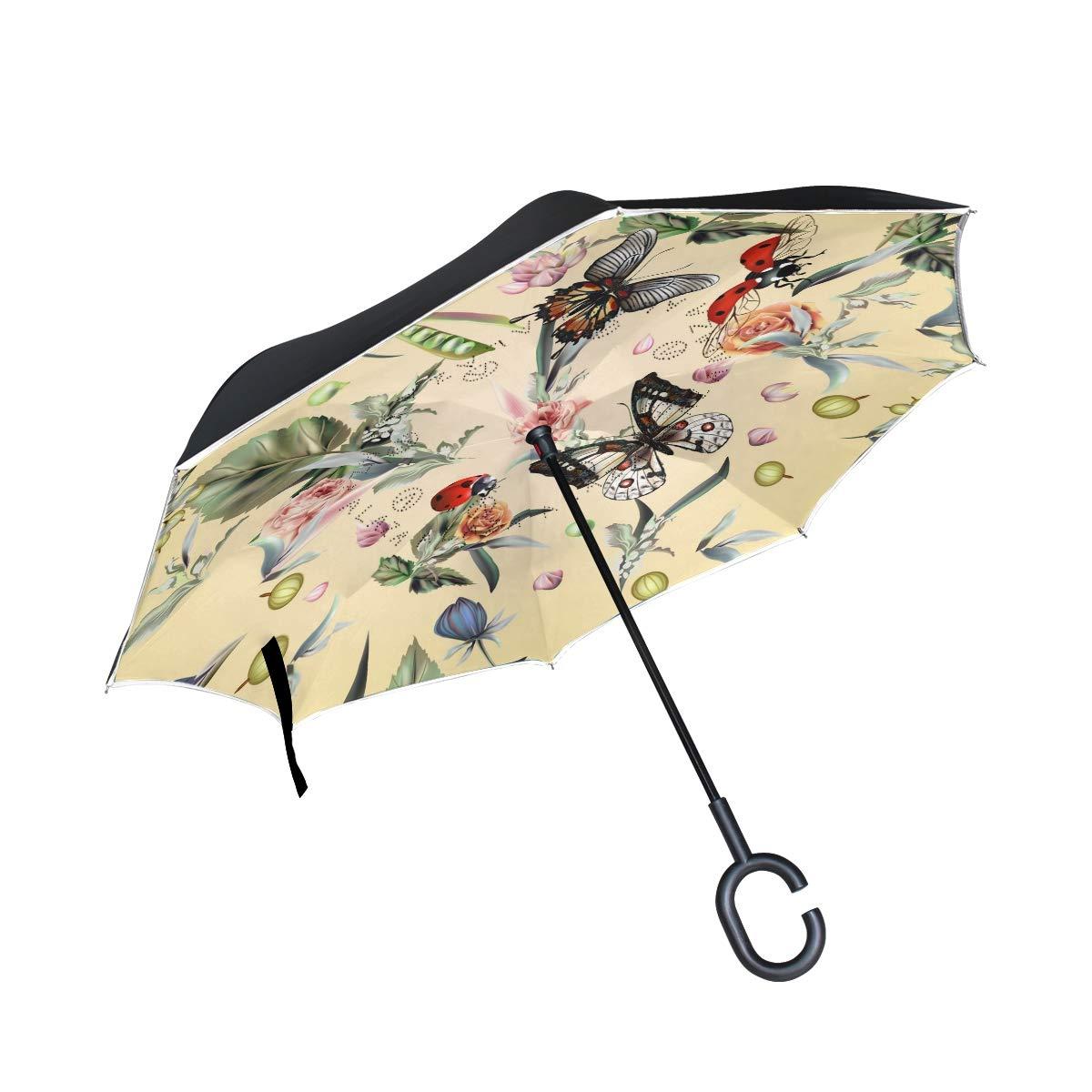 ALINLO inversé Parapluie rétro Printemps Papillon Imprimé Floral, Double Couche Envers Parapluie pour Voiture Pluie étanche d\'extérieur avec poignée en Forme de C