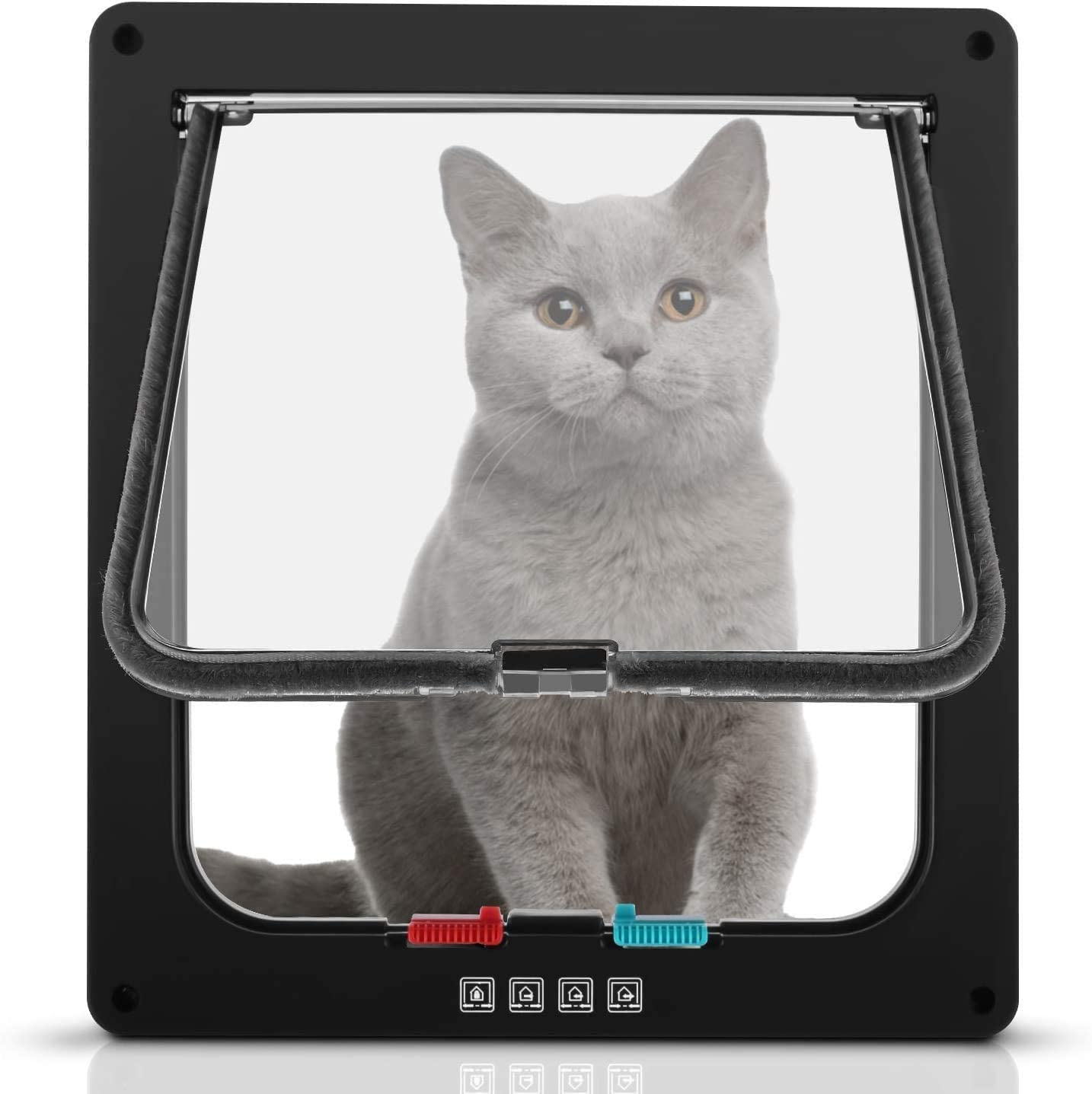 Sailnovo Puerta para Gato con Cierre magnético de 4 vías, Puerta para Mascotas para Gatos y Perros pequeños, Puerta para Gatos con túnel Negro 20 x 22 x 5.5 cm