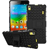 BlueInk Defender Case for Lenovo K3 Note/ A7000 Dual Layer Tough Rugged Shockproof Hybrid Warrior Armor Case Back Cover With Kickstand / Black