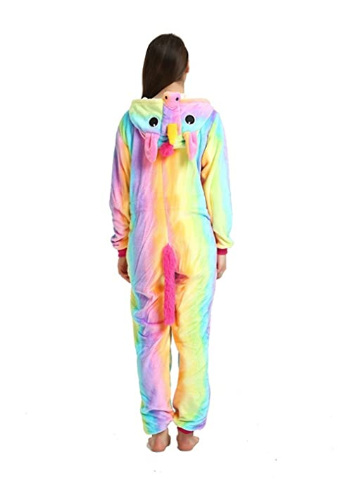 Pijama unicornio Disfraz Animal Ropa de dormir Cosplay Disfraces Pijamas para Adulto Niños Carnaval Halloween Festival (Size M for 158-168CM, ...