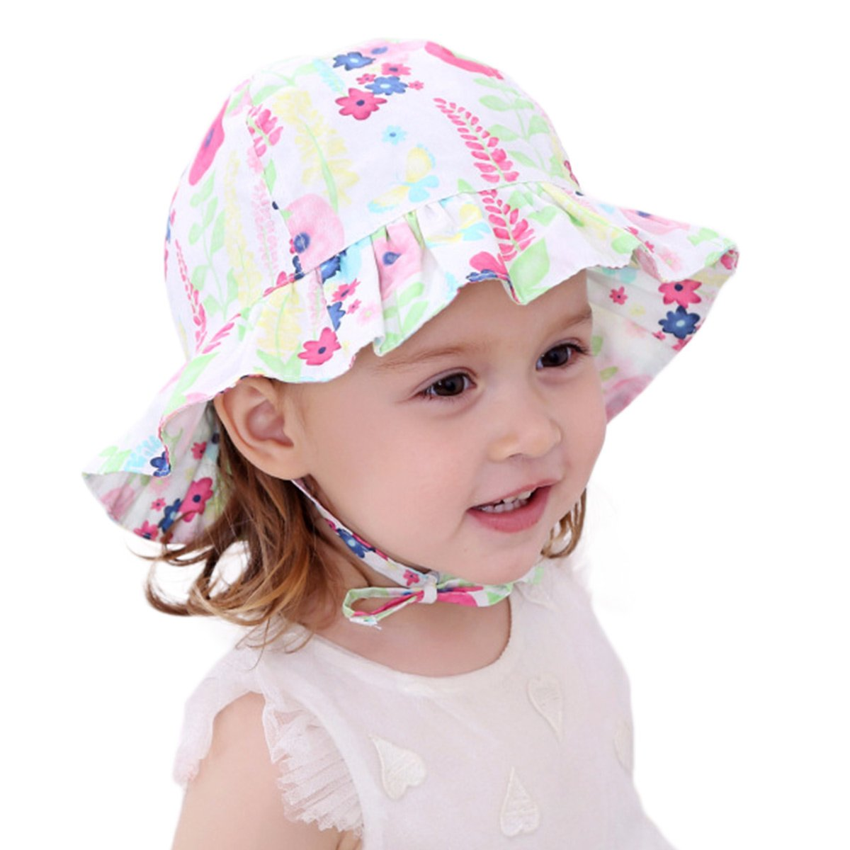 18a21502112 Amazon.com  Toddler Baby Girls Sun Hats for Summer Sun Protection Beach Hat  for Kids 0M-6T Green Flower  Clothing