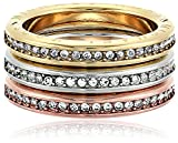 Michael Kors Iconic Haute Hardware Tri-Tone and Pave Logo Grommet Stackable Ring, Size 6