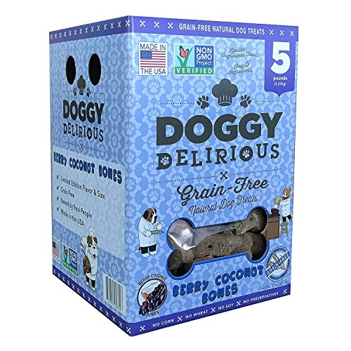 Doggy Delirious Grain Free Natural Dog Treats, Baked in the USA, Non-GMO - Berry Coconut Bones, 5 lbs