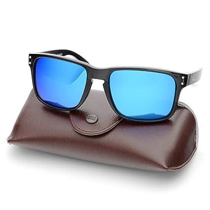 7c238f00e0d Amazon.com  B.N.U.S Retro sports sunglasses for men women fashion blue  mirrored lenses (Black Blue Flash