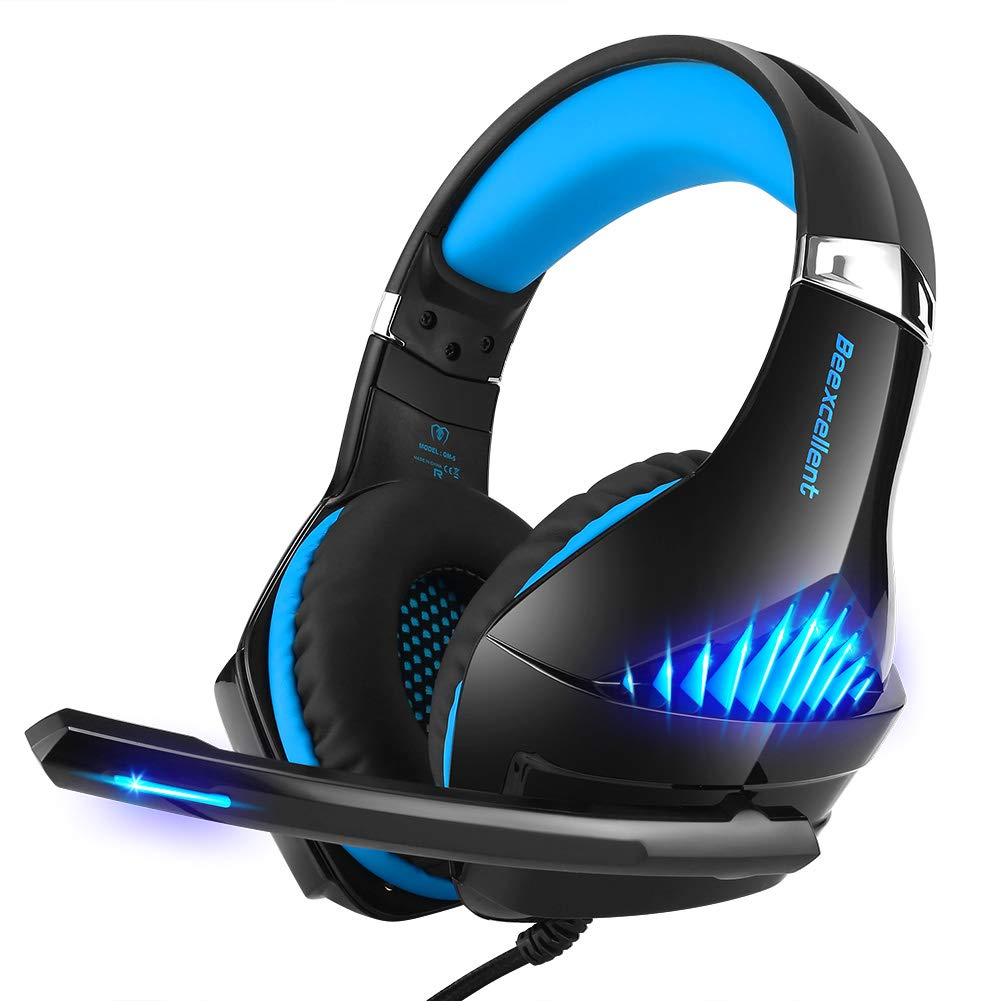 Selieve Gaming Headset for Xbox One, PS4, Nintendo Switch, PC, with Noise Cancelling Mic, LED Light Bass Surround Soft Memory Earmuffs for Fortnite Red Dead Redemption 2 Black Blue