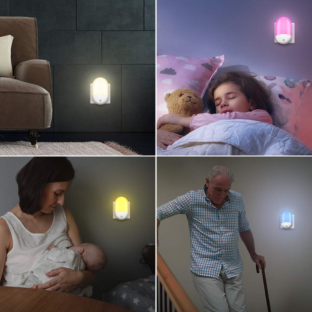 Plug-in LED Night Lights for Kids Warm Light and 8 Color Switchable for Baby Room,Bedroom,Kitchen Timing Setting Work at Night GRESATEK Smart Remote RGB Night Light with Dusk to Dawn Sensor