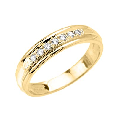 Mens 14k Yellow Gold Diamond Wedding Band Amazoncom