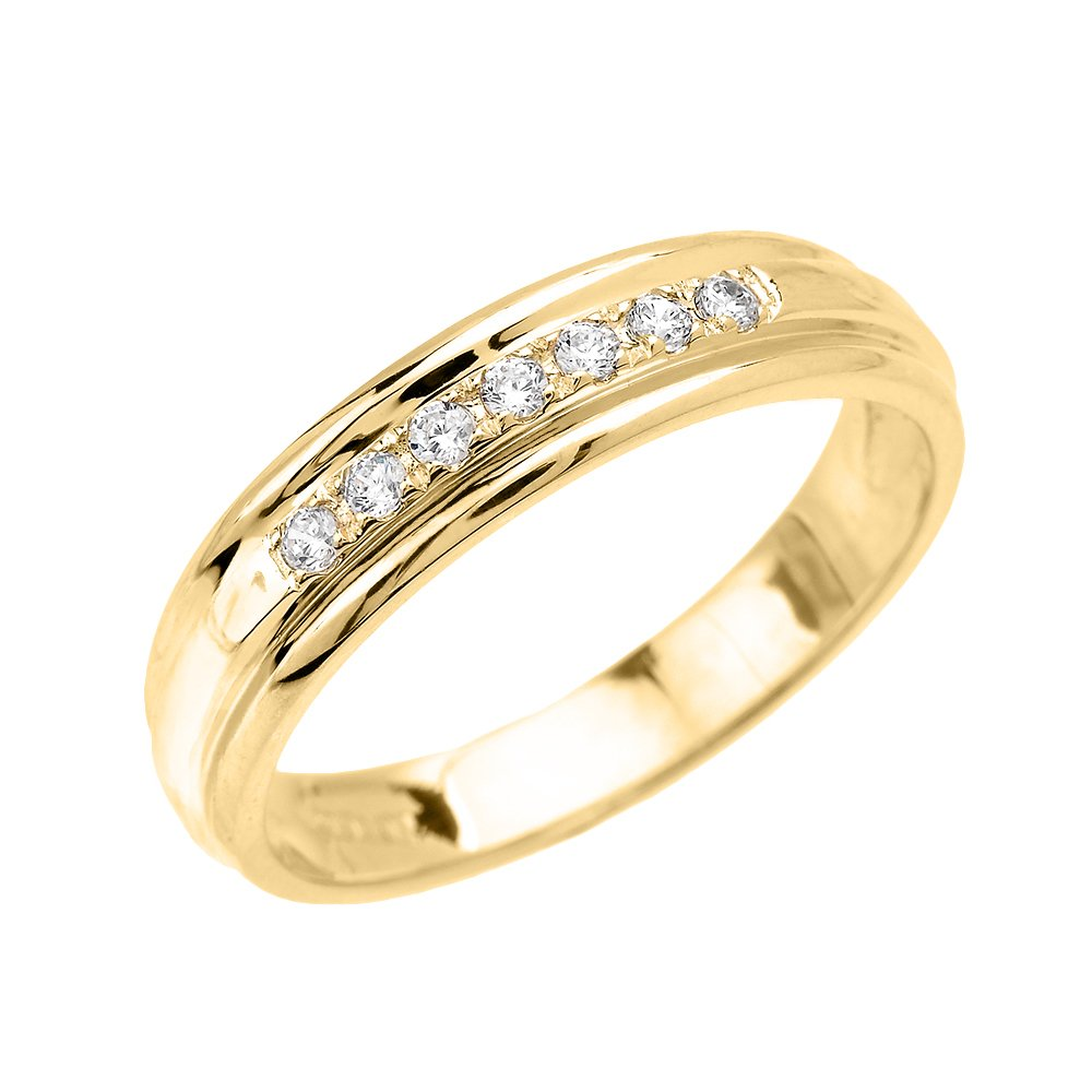 Men's 10k Yellow Gold Diamond Wedding Band (Size 12.5)