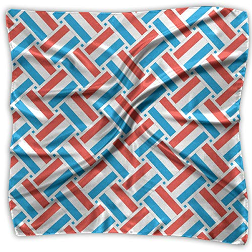Square Satin Headscarf Luxemburg Flag Weave Silk Like Lightweight Hair Wrapping Neck Square Scarfs Large