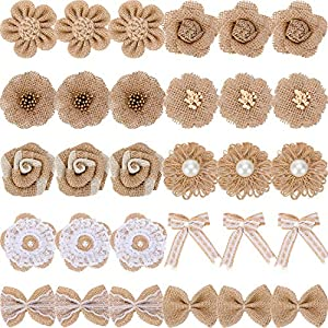 30 Pieces Handmade Natural Burlap Flower Rustic Lace Rose Flower Natural Bowknot Faux Pearl Flower Twine Ribbon for DIY Craft Bouquets Wedding Party Home Decorations, 10 Styles 76