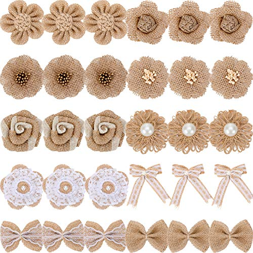 30 Pieces Handmade Natural Burlap Flower Rustic Lace Rose Flower Natural Bowknot Faux Pearl Flower Twine Ribbon for DIY Craft Bouquets Wedding Party Home Decorations, 10 Styles