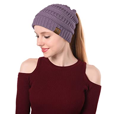 404fead8df3 Zando Women Ponytail Beanie Cap Soft Stretch Beanie Tail Winter Warm Cable  Knit Messy High Bun Hat