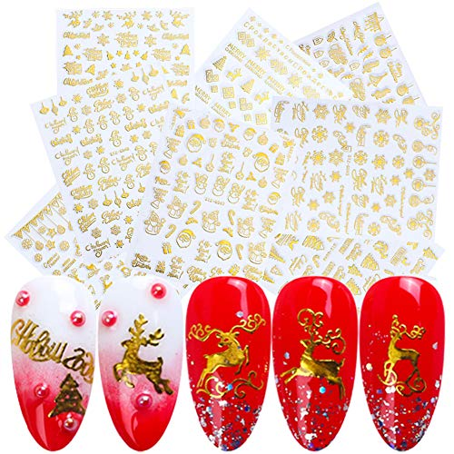3D Christmas Nail Art Stickers Gold Winter Nail Decals for Women 8 Sheets Self-Adhesive Xmas Snowflake Bell Tree Reindeer Santa Claus Snowman Nail Sticker for Fingernails Toenails Decorations