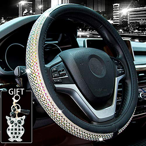 2020 Ford Mustang Wheels - Didida Bling Steering Wheel Cover for Men Women Diamond Crystal Rhinestones Shiny Universal 15 Inch Send with Owl Keychain (Colorful)