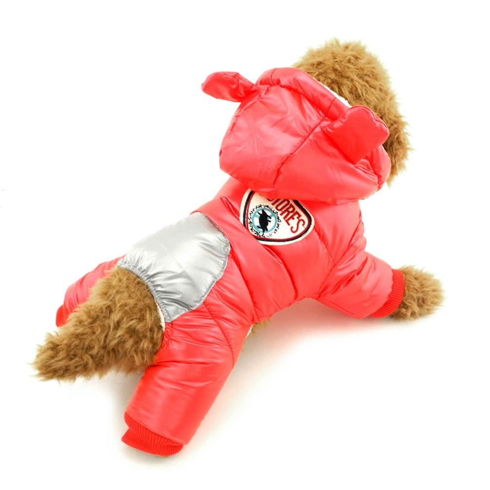 SMALLLEE_LUCKY_STORE Dog Snow Jacket with Hood Winter Small Dog Coat Toy Poodle Clothes, X-Large, Red