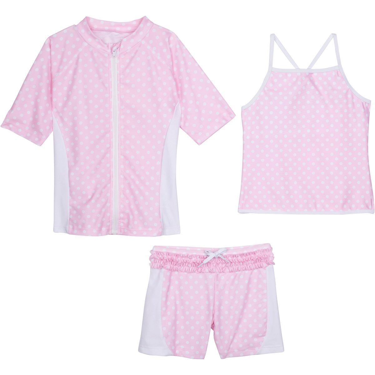 SwimZip Girls Short Sleeve Rash Guard Swim Shorts Set UPF 50+ Sun Protective Zipper Pink 4T SZISSSHORTSET3PC26
