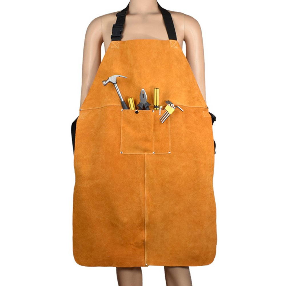 TUYU Welding Bib Apron Cowhide Leather Blacksmith Apron Electrician Carpentry Heavy Duty Work Apron Fire Resistant Welding/Welder Smock Adjustable Size for Men & Women HJ0007