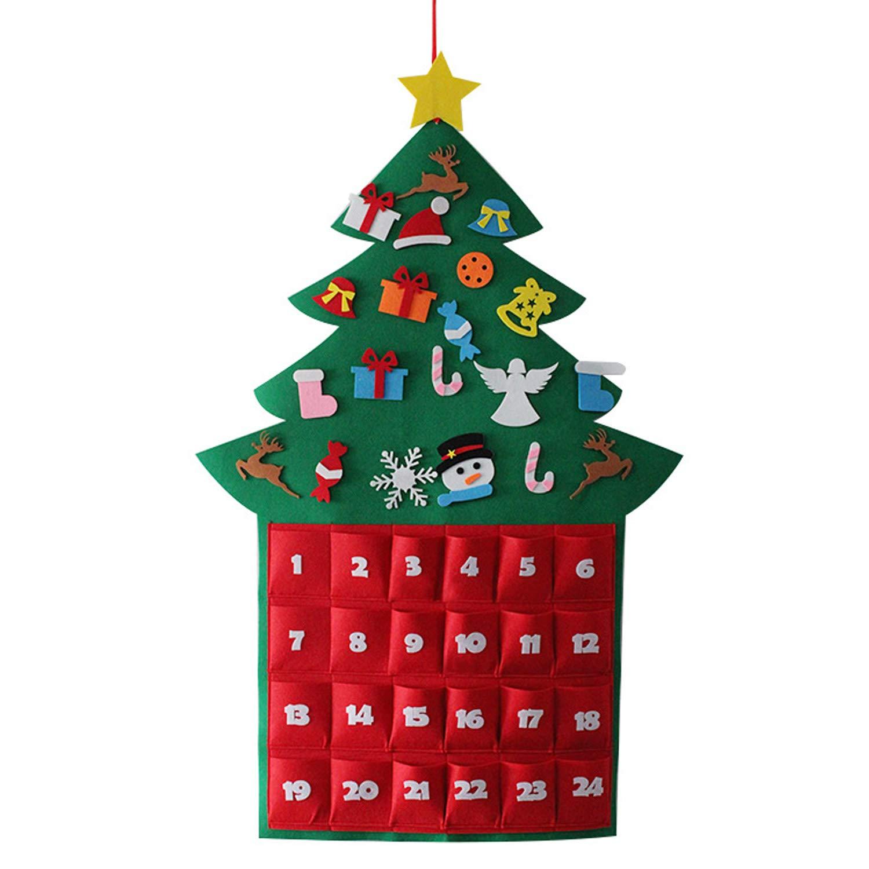 Carina Provato Albero Di Natale Stile Appeso 24 Giorni Tessuto Albero Di Natale Calendario Dell'avvento Con Tasche Per Decorazioni Di Natale Goseare